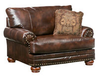 Ashley Antique Brown Bonded Leather Chair Rolled Arms Nailheads & Accent Pillow