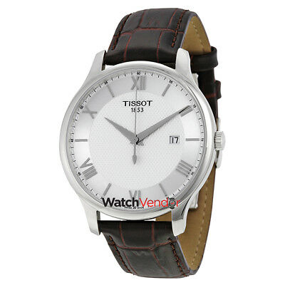 Tissot Tradition Silver Dial Brown Leather Mens Watch T0636101603800