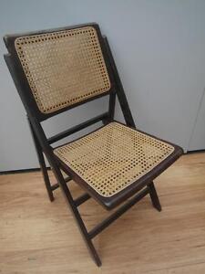 ... Vintage ANTIQUE Wooden Amp RATTAN Folding CHAIR 2