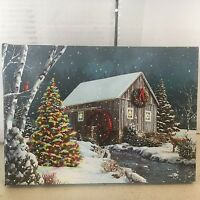 Tabletop Cabin/waterwheel Picture On Canvas With Led Lights Christmas Decor
