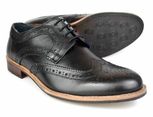 Silver Street Milton Black Leather Mens Brogues
