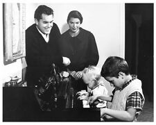 JEFFREY HUNTER and wife Joan 8x10 still at home with sons at piano -- (b836)