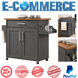 Details About Mobile Kitchen Island Gray With E Rack Towel Drawer Two Doors Luxury