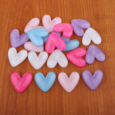 30pcs Heart Resin Flatback Embellishments for Easter Craft Accessories