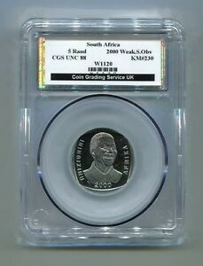CGS-Graded-South-Africa-Mandela-R5-Coin-2000-Mint-Error-Weak-034-S-034-OB-Strike