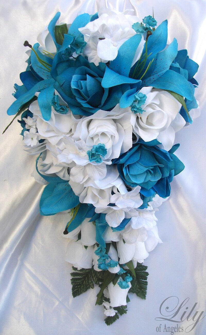 17pcs Wedding Cascade Bridal Bouquet Silk Flower Teardrop TURQUOISE Weiß