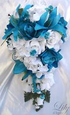 17pcs Wedding Cascade Bridal Bouquet Silk Flower Teardrop TURQUOISE WHITE