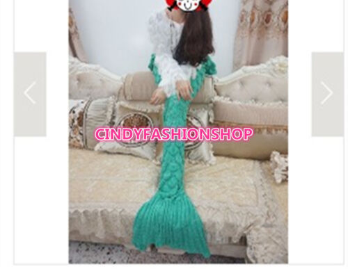 USA Crochet Scales Mermaid Tail Blanket Warm Knitted Winter Cute Bed Wrap Adult