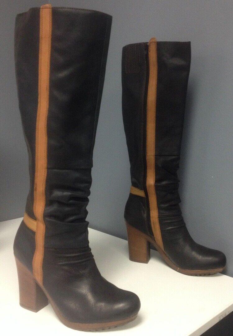 SEYCHELLES Black Tan Trim Leather Slight Platform High Heel Boot Boot Boot Sz 9.5 B4774 fd183d