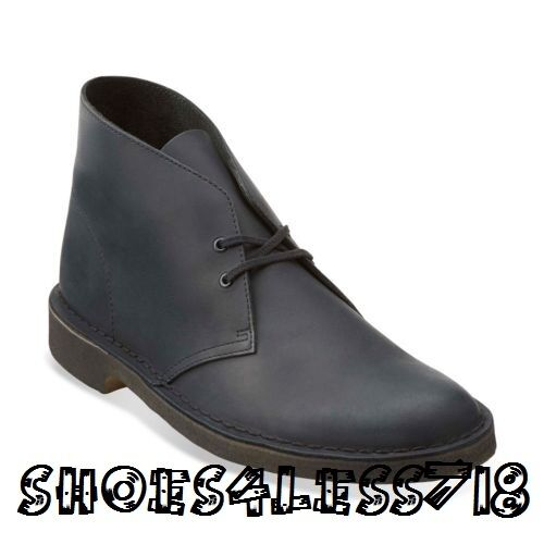 NEW CLARKS OF ENGLAND ORIGINAL BLACK BEESWAX LEATHER DESERT BOOT EXCLUSIVE 03683