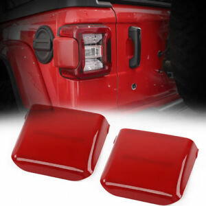 Pair Red Rear Tail Light Lamp Trim Bezels Cover For Jeep