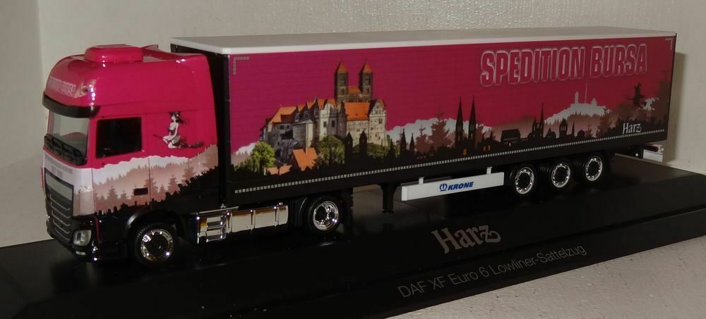 SB57 Herpa DAF XF Euro 6 SSC Lowliner-Sattelzug  Sped. Bursa, Harz  1 87 PC+OVP
