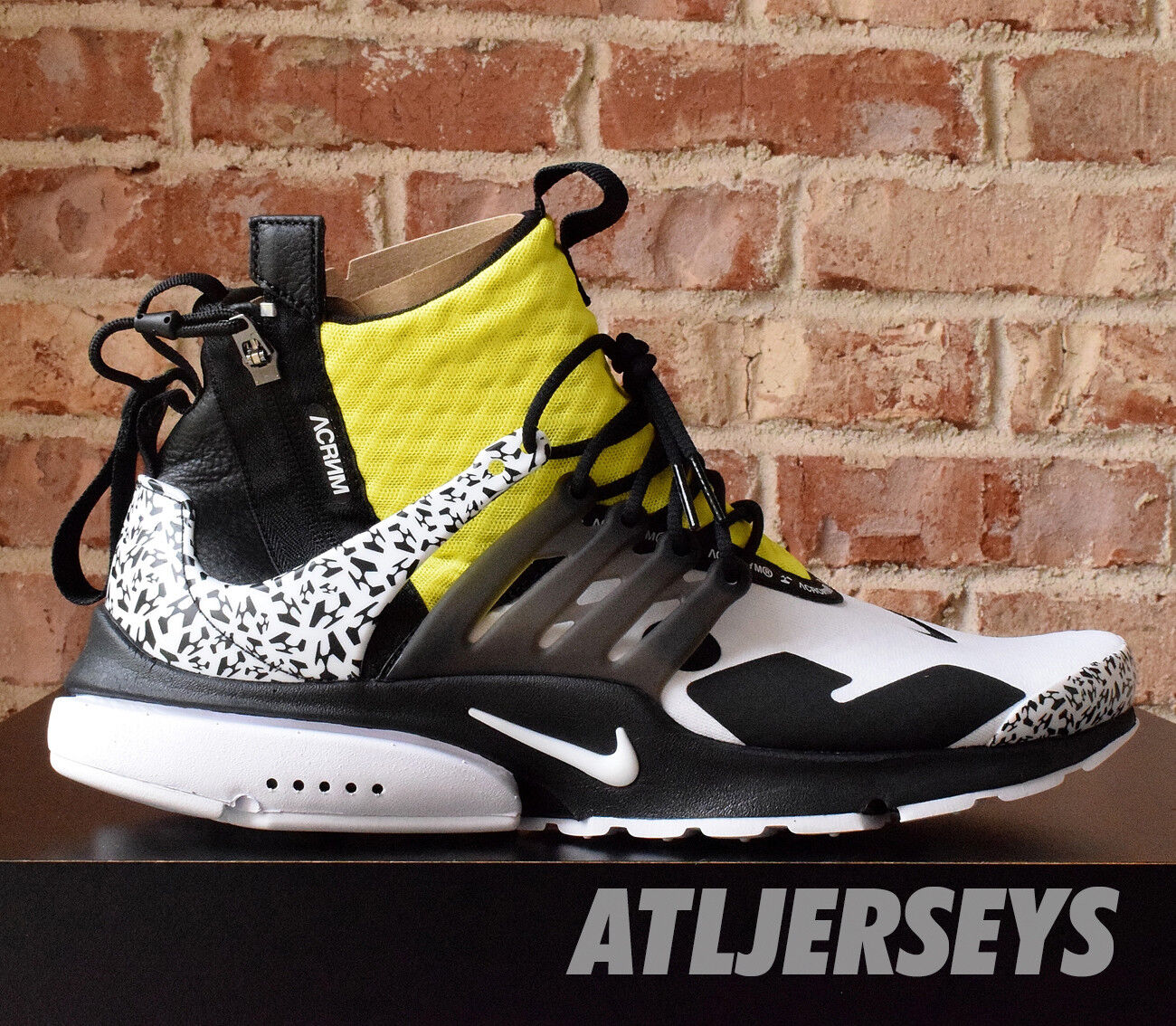 Nike Air Presto Mid Acronym Dynamic Yellow Black White AH7832-100 Size 4-14