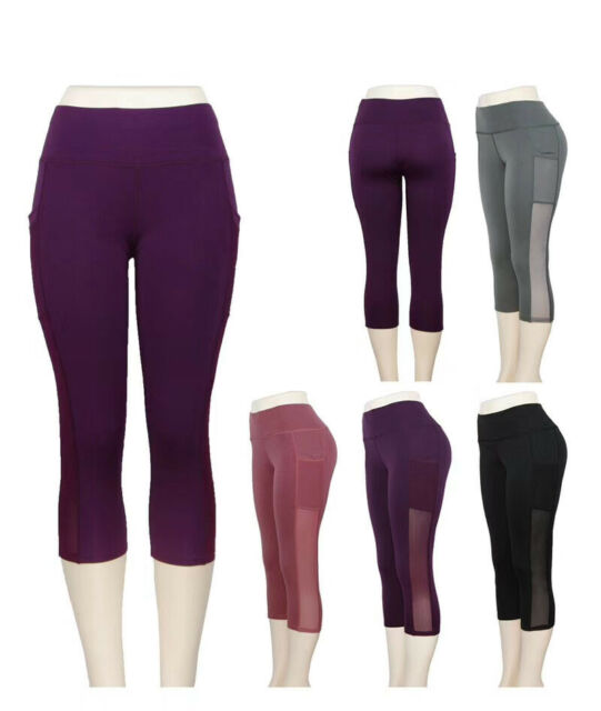 Womens YOGA Workout Gym Sport Pants Leggings Capri Black Mesh w Pockets #2724