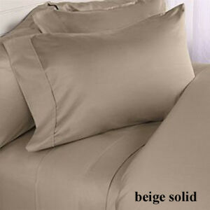 Beige Solid Sizes & Deep - Pocket Sheet Set 800 - Thread- Count Egyptian Cotton