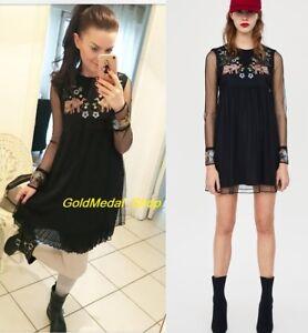 61df4c14f859 Image is loading Zara-Plumetis-Embroidered-New-Black-Mini-Dress-Long-