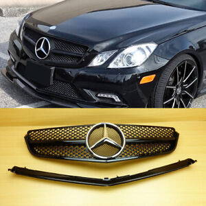 Fit with 10-13 W207 E-Class Coupe Front Fence Grille Chrome Black CB-H Style Set