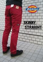 Dickies Rare Skater Emo Skinny Straight Leg Mens Dark Red Work Pants Sizes 29-38