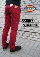 Dickies Rare Skater Emo Skinny Straight Leg Mens Dark Red Work Pants Sizes 29-38