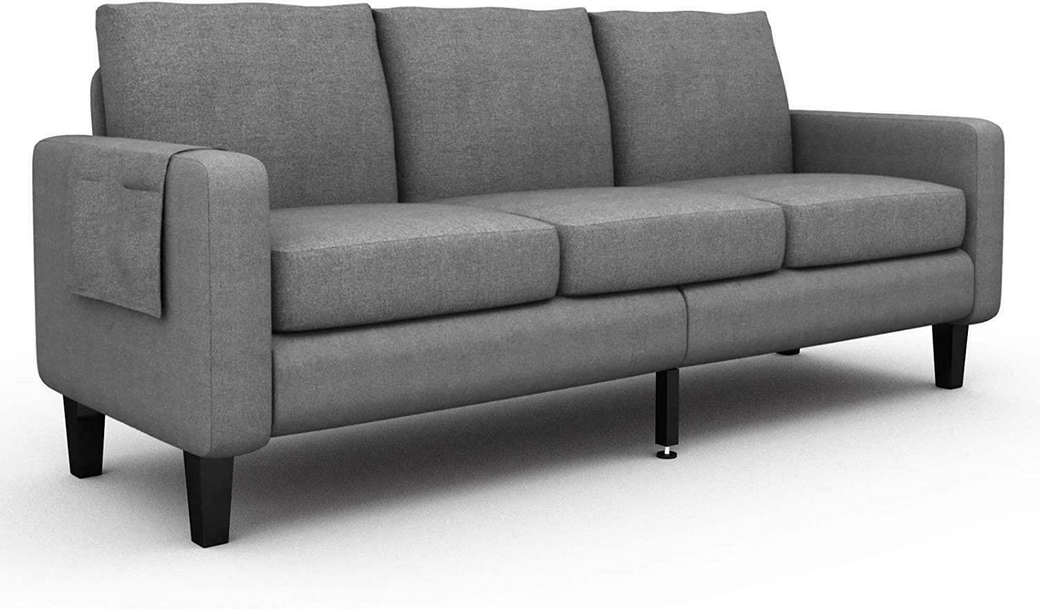 Living Room Sofa Linen Fabric Couch Furniture Upholstered 3 Seat Sofa Couch US