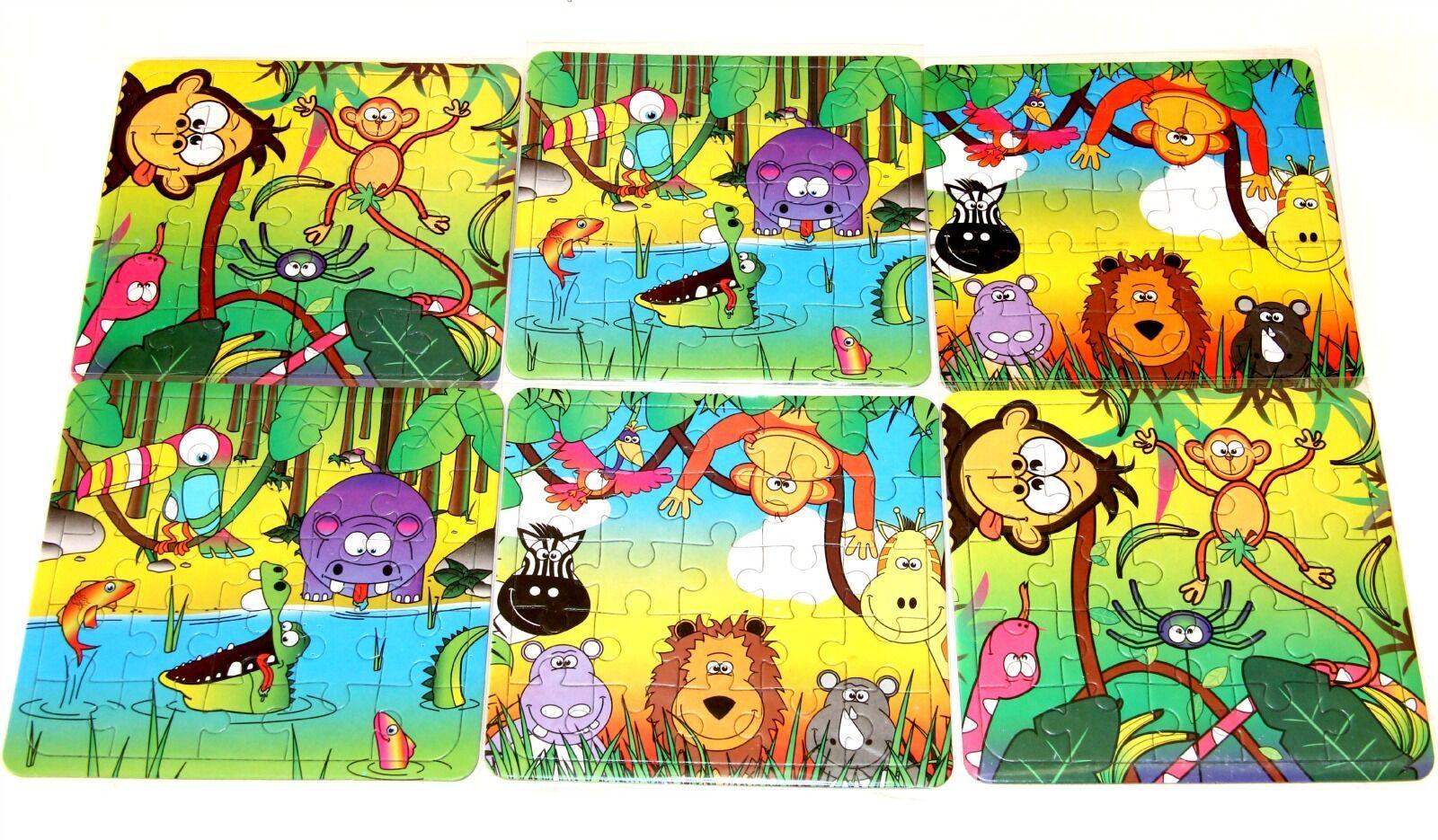 12 Ragazzi Ragazze Giungla Animali Puzzle Giocattolo Festa Borse Filler GOODY bambini