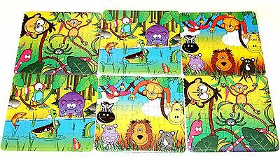 12 Jungle Animals JIGSAW PUZZLE toy Party Bags Filler GOODY children kids boy