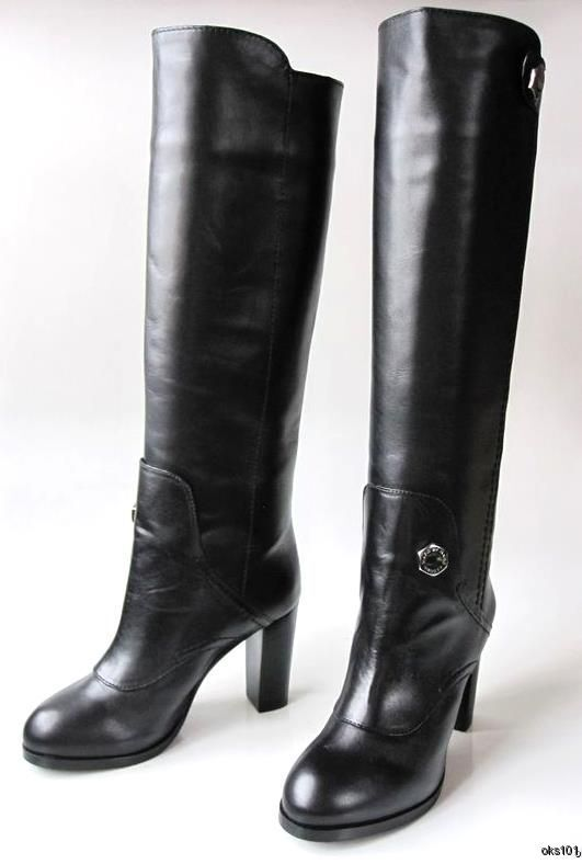 New New New MARC JACOBS nero leather shoes knee-high BOOTS 38.5 8.5 8 fabulous 0759e1