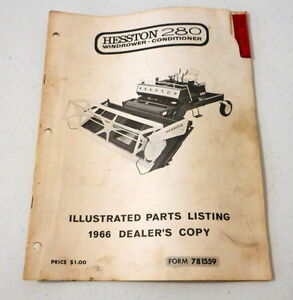 Details about 1966 Hesston 280 Windrower Conditioner Illustrated Parts  Listing Catalog Swather