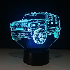 LED 3D Illuminated JEEP Illusion Light Desk Micro USB Lamp Night 7 Color Change