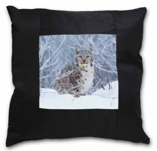 Wild Lynx in Snow Black Border Satin Feel Cushion Cover With Pillow I AT-55-CSB