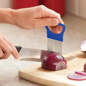 Leicht-Zwiebelhalter-Slicer-Gemuese-Werkzeuge-Cutter-Edelstahl-KuechebBG-YR