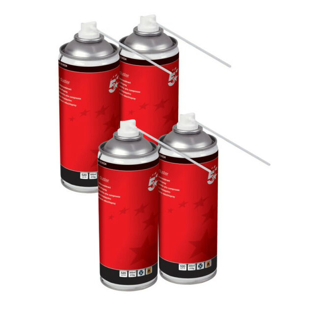 5 Star Air Duster Can HFC Free Compressed Gas Flammables 400ml pack of 4