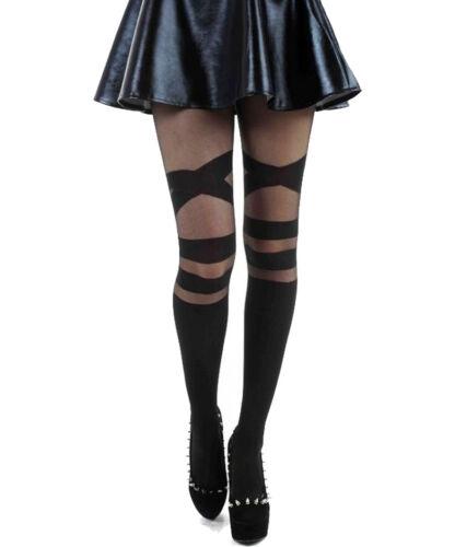 Schompi Tights V Strap Damen Strumpfhose Schwarz Gothic Punk Overknee Optik