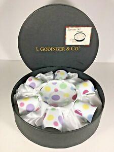 I-Godinger-amp-Co-6-Espresso-Tea-Cup-Saucer-Polka-Dot-Set-Box-Coffee-Pastel-Gold