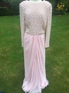 Pink 14 L Vintage Dress Gown Beads Victoria Evening Uk Party Sz Sequence Royal HwxnqBa