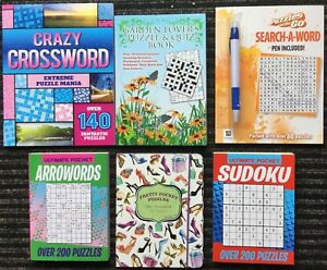 puzzle books x 6 wordsearch sudoku arrow words codeword