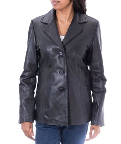 Lengde Leather Hip Ladies Fitted Coat Three Jacket Black Button Vanlig Blazer xqOwIC7pWw