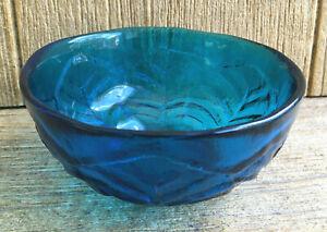 Viking Hand Made Art Glass Bowl Epic Leaf Turquoise Blue Vintage MCM Modern