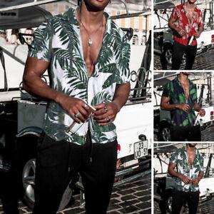 Mens-Short-Sleeve-Floral-Printed-Casual-T-Shirt-Summer-Hawaiian-Blouse-Top-Tee