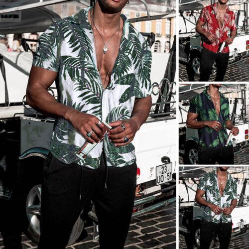 Mens Short Sleeve Floral Printed Casual T Shirt Summer Hawaiian Blouse Top Tee