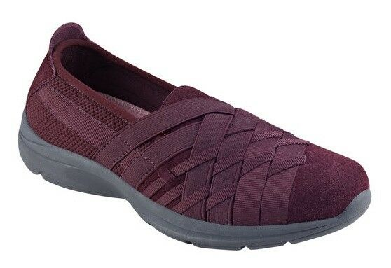 Easy Spirit Queenie athletic walking shoe suede woven GEL ROT wine 11 Med NEU
