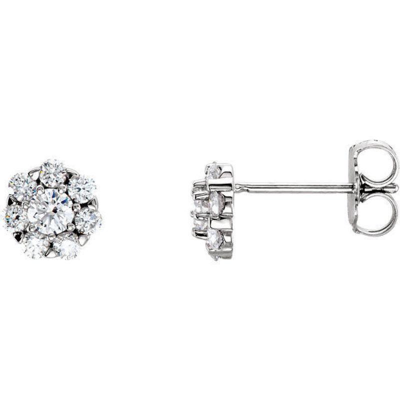 Diamond Cluster Earrings In 14K White gold (3 8 ct. tw.)