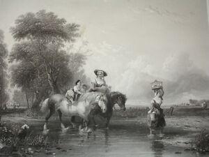 """Gravure 1860 """" Le Retour Du Marché """" W.calcott 370x260 Bkxpnsxu-10040322-936390914"""