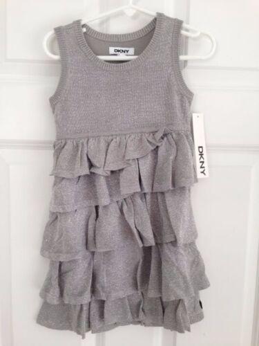 DKNY NWT Girl Sweater Ruffle Tier Dress 2 2T 3 3T 4 4T Pink Silver