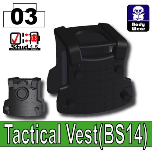 W254 Black BS14 Tactical Army Vest compatible with toy brick minifigures