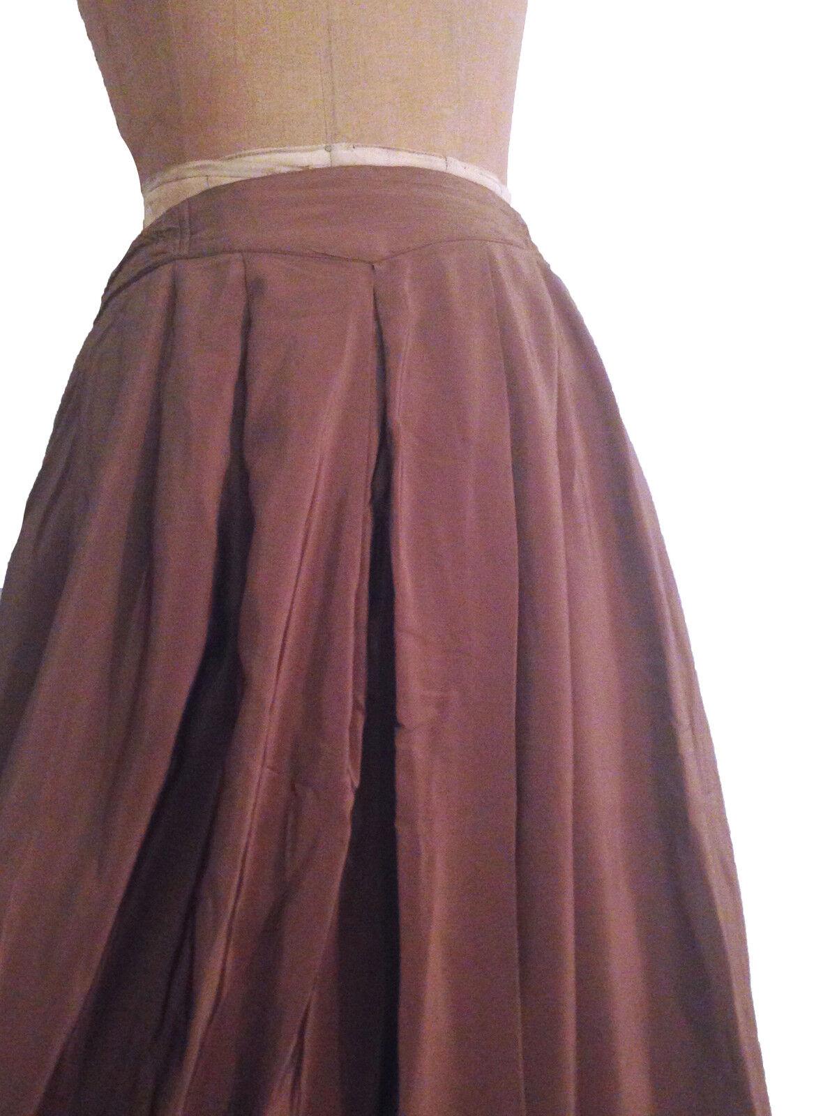 KHAKI Green PURE SILK Full Length PLEATED skirt -Size14- L XL