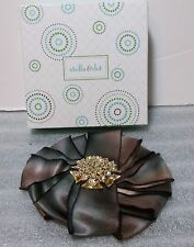 Stella & Dot Gold & Swarovski Crystal Anastasia Brooch Flower Fabric Petals NIB