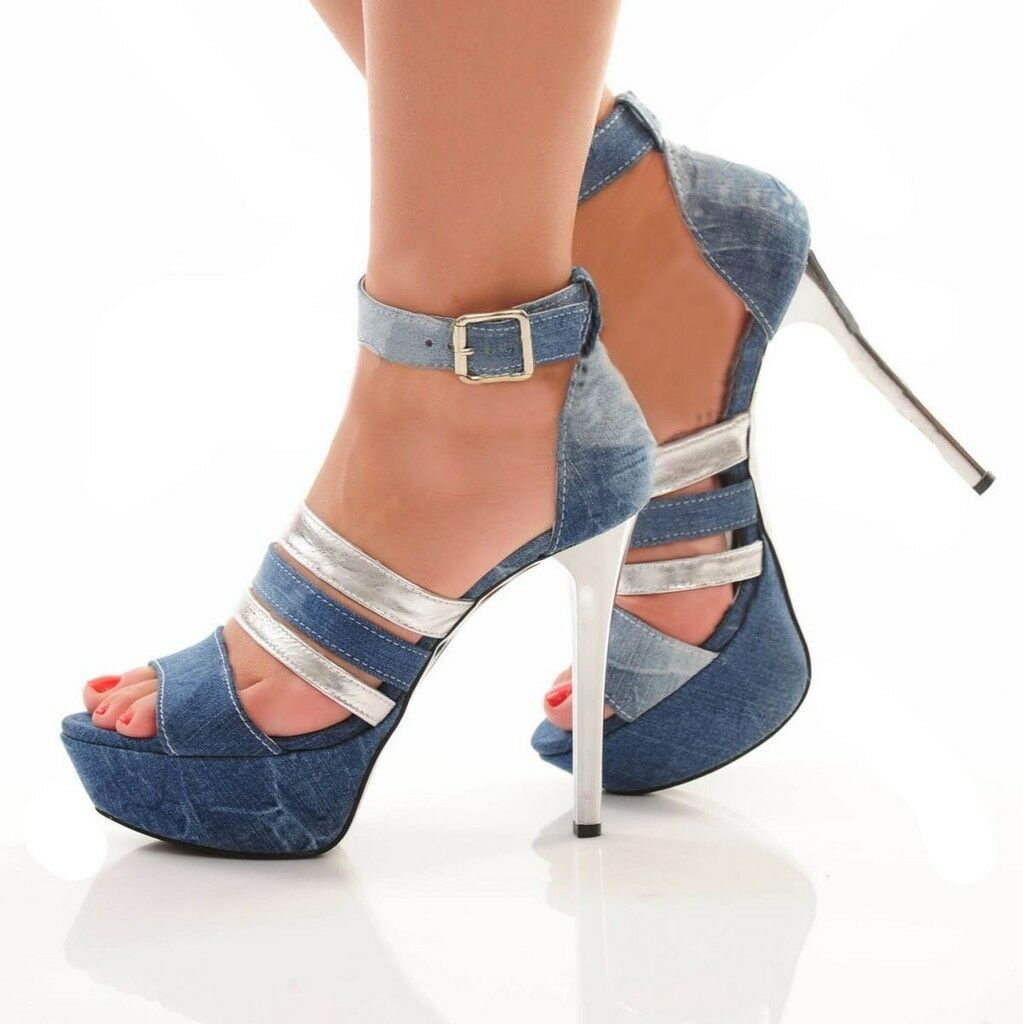 BY BY BY ALINA Damen Pumps Damenschuhe Jeans Jeanspumps High Heels Plateau 35-39 #V15 80aeaf