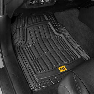 CAT-4pc-All-Weather-Car-Floor-Mats-Liners-Set-Black-Tough-Rubber-Deep-Channel
