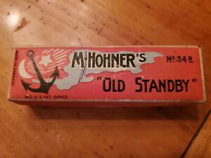 Vintage M. Hohner Old Standby No. 34B Harmonica Key of C  In Original Box